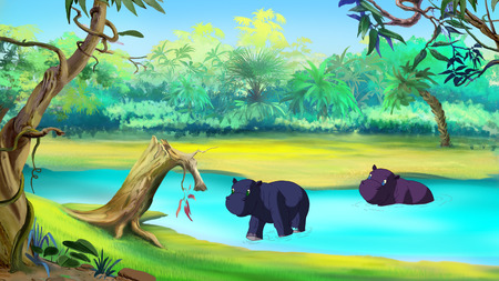 Little Hippo Emerges from the River in african sunny day. Digital painting  cartoon style full color illustration.