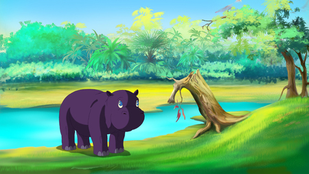川の近くの小さなカバ。デジタル絵画漫画フルカラー イラスト。