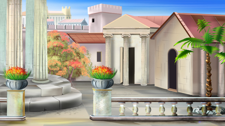 Antique courtyard in a summer sunny day. Digital painting background, Illustration in cartoon style character. Stock Photo