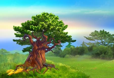 晴れた日の草原で孤独なオークの木。デジタル絵画の背景、スタイルの漫画のキャラクターのイラストです。