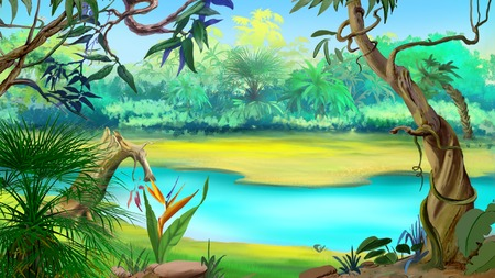 Small River in the Rainforest in a sunny day. Digital Painting Background, Illustration in cartoon style character. Stock Photo