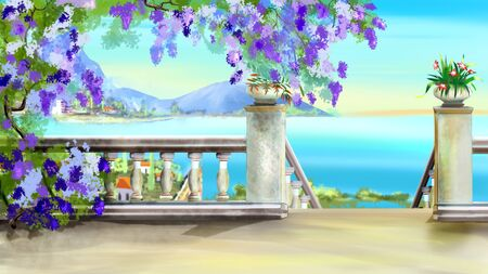 Stairs at Descent to the Sea in a Park on a sunny day. Digital Painting Background, Illustration in cartoon style character. Stock Photo