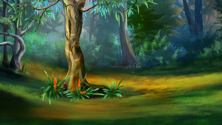 Large Tree in a Dense Forest in a Summer Day. Digital Painting Background, Illustration in cartoon style character. Imagens