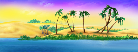 Palm Trees on a Sandy River Bank. Digital Painting Background, Illustration in cartoon style character.