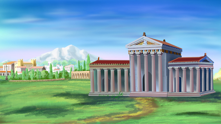 Ancient Greek Temple in a sunny day. Digital Painting Background, Illustration in cartoon style character.