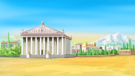 Temple of Artemis in a sunny day. Digital Painting Background, Illustration in cartoon style character. 写真素材