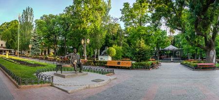 ODESSA, UKRAINE - 05.19.2018. Panoramic view in the Odessa City garden, Ukraine, on a sunny spring morning
