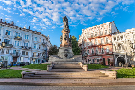 ODESSA, UKRAINE - 08.09.2018. Catherine Square and Monument to empress Catherine the Great in a summer morning