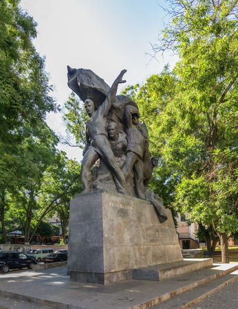 ODESSA, UKRAINE - 08.23.2018. Monument to sailors of Battleship Potemkin, who supported workers revolt of 1905 in Odessa