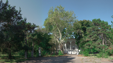Old abandoned Chkalov sanatorium in Odessa, Ukraine, in a sunny summer day Editorial