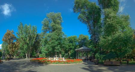 ODESSA, UKRAINE - 09.25.2018. Panoramic view of the Odessa City garden, Ukraine, in a sunny summer morning
