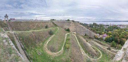 The old wall and the descent to the salt estuary Kuyalnik in Odessa, Ukraine