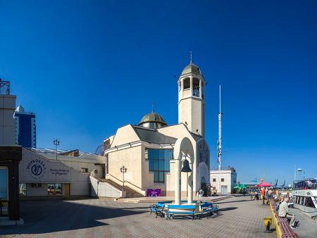 Odessa, Ukraine - 09.19.2018. Orthodox St. Nikolai church in the Odessa seaport, Ukraine, in a sunny morning