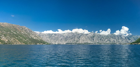 View of the city of Perast in the Bay of Kotor, Montenegro 스톡 콘텐츠
