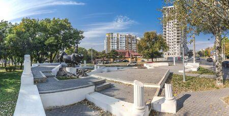 Odessa, Ukraine - 10.20.2018. Abduction of Europa Monument in Odessa, Ukraine