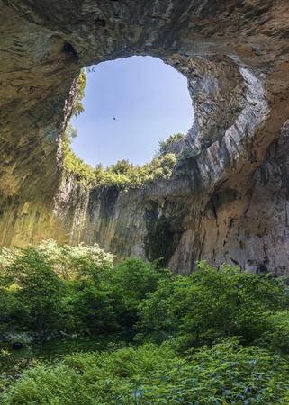 Panoramic view inside the Devetashka Cave near Devetaki village and Osam river in Bulgaria Banco de Imagens