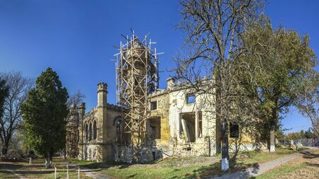 Petrovka near Odessa, Ukraine. Ruined architectural monument of Romanticism Stock Photo