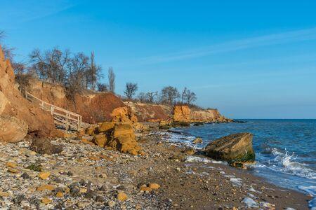 Old wooden stairs down to the sea near the village of Fontanka, Odessa region, Ukraine