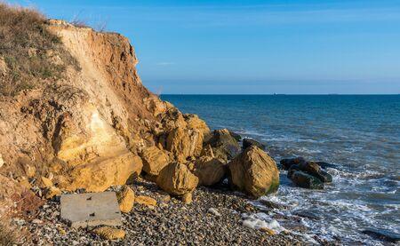 Warm late autumn day on the seashore near the village of Fontanka, Odessa region, Ukraine