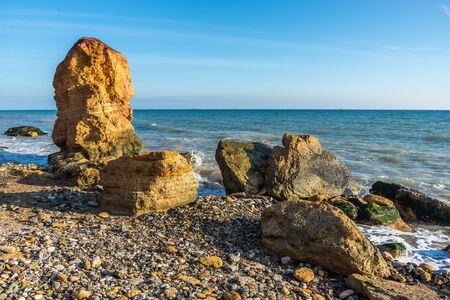 Stone pillar on the Black Sea coast near the village of Fontanka, Odessa region, Ukraine