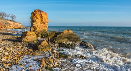 Stone pillar on the Black Sea coast near the village of Fontanka, Odessa region, Ukraine
