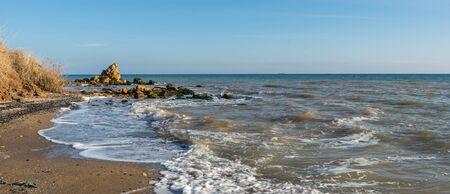Sunny autumn day on the seashore near the village of Fontanka, Odessa region, Ukraine