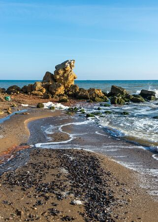 Large stones by the sea near the village of Fontanka, Odessa region, Ukraine