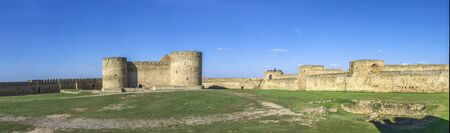Akkerman, Ukraine - 03.23.2019. Panoramic view of the Fortress walls and towers from the inside of the Akkerman Citadel, a historical and architectural monument 報道画像