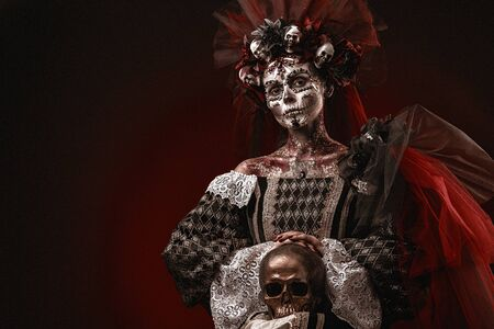 Santa Muerte Halloween Young Girl with creative scull Makeup