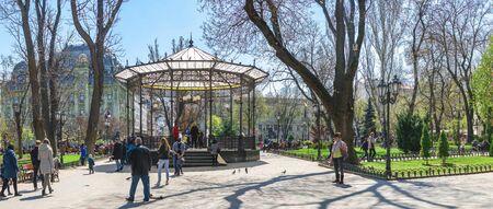 Odessa, Ukraine - 04.20.2019. Springtime in the City garden, the historic center of Odessa, Ukraine