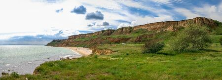 Shore of the Black Sea near the village of Grigoryevka in Odessa region of Odessa, Ukraine 写真素材