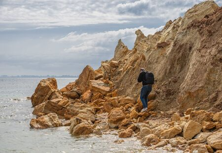 Grigoryevka, Ukraine - 05.09.2019 Natural Shell rocks and stones  on the coast of Odessa in Ukraine