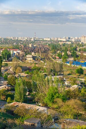 Top view of the industrial zone of Odessa, Ukraine, in the area of Peresyp and the Kotovsky district on a sunny summer day