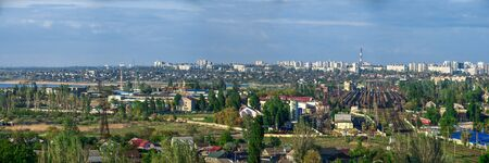 Panoramic top view of the industrial district of Odessa, Ukraine, on a sunny summer day