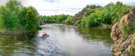 Southern Bug river in Mygiya village, Ukraine, on a sunny summer day