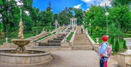 Chisinau, Moldova – 06.28.2019. Cascading stairs or Scara Cascadelor near the Valea Morilor Lake in Chisinau, Moldova