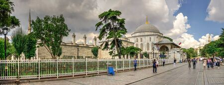 Istambul, Turkey – 07.12.2019. Tomb of Sultan Ahmet on a cloudy summer day, Istanbul, Turkey Editorial