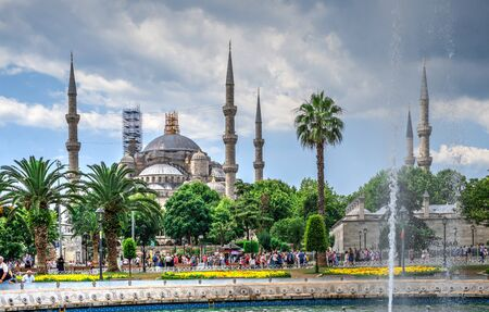 Istambul, Turkey – 07.12.2019. Sultan Ahmed Park in Istanbul, Turkey, on a cloudy summer day Editorial