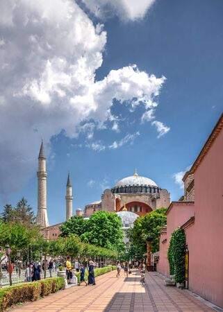 Istambul, Turkey – 07.12.2019. Hagia Sophia museum in Sultan Ahmed Park, Istanbul, Turkey, on a cloudy summer day Editorial