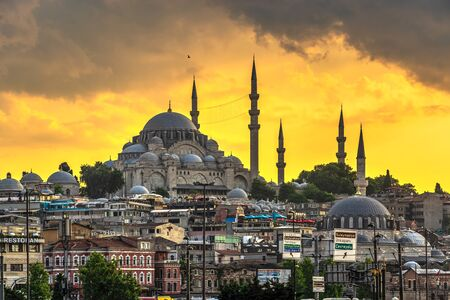 Istambul, Turkey – 07.12.2019. Sulaymaniye Mosque in Istanbul on a sunny summer evening Editorial