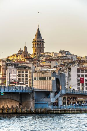 Istambul, Turkey – 07.12.2019. Panoramic view of Galata Bridge and Galata Tower in istanbul on a sunny summer evening