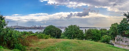 Istambul, Turkey – 07.13.2019. View of the Golden Horn from Topkapi Park on a cloudy summer day
