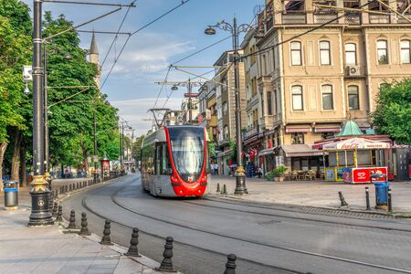 Istambul, Turkey – 07.13.2019. Tram in Istanbul on a sunny summer morning Editorial