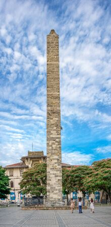 Istambul, Turkey – 07.13.2019. Constantine Obelisk in the Hippodrome of Istanbul, Turkey, on a cloudy summer day.