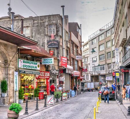 Istambul, Turkey – 07.13.2019. Streets of the historical center of Istanbul on a cloudy summer morning Editorial