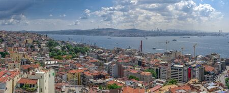 Istambul, Turkey – 07.13.2019. Big panoramic top view of Beyoglu district in Istanbul on a sunny summer day