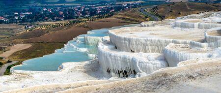 Pamukkale Travertine pool in Turkey on a summer morning.