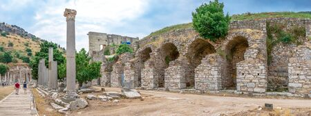Ruins of antique Ephesus city on a sunny summer day Stock Photo