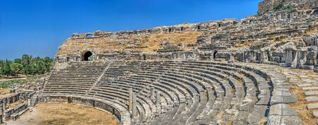 The interior of the Ancient Theatre in the greek city of Miletus, Turkey, on a sunny summer day