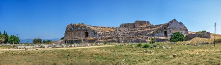The ruins of an Ancient Theatre in the greek city of Miletus in Turkey on a sunny summer day